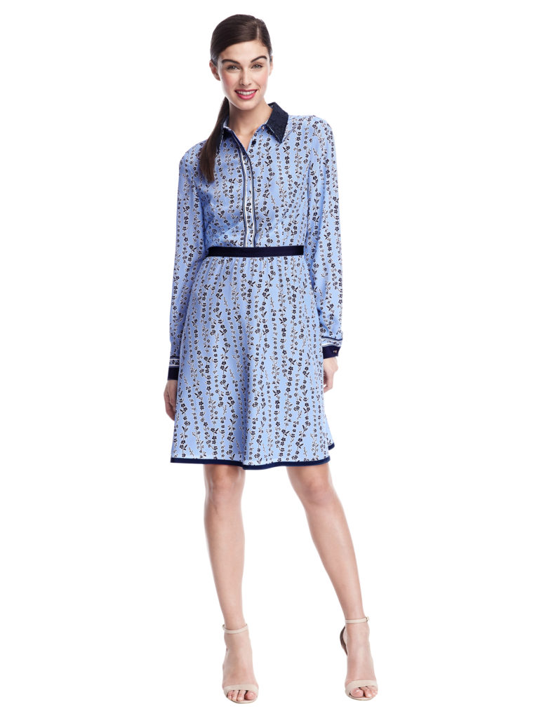 model wears blue floral Botanical Floral Shirtdress from Draper James Capsule Collection