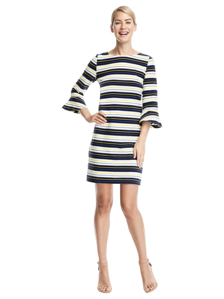 model wears Pop Stripe Dress from Draper James Capsule Collection