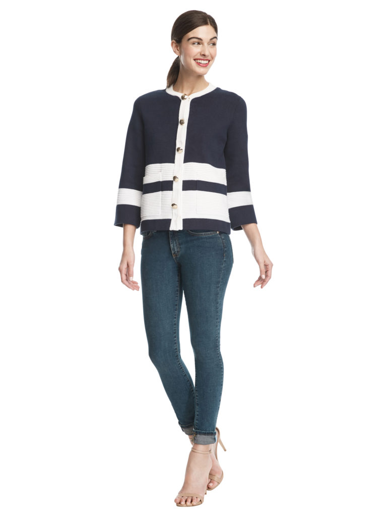model wears navy and white ottoman stripe sweater jacket from Draper James Capsule Collection