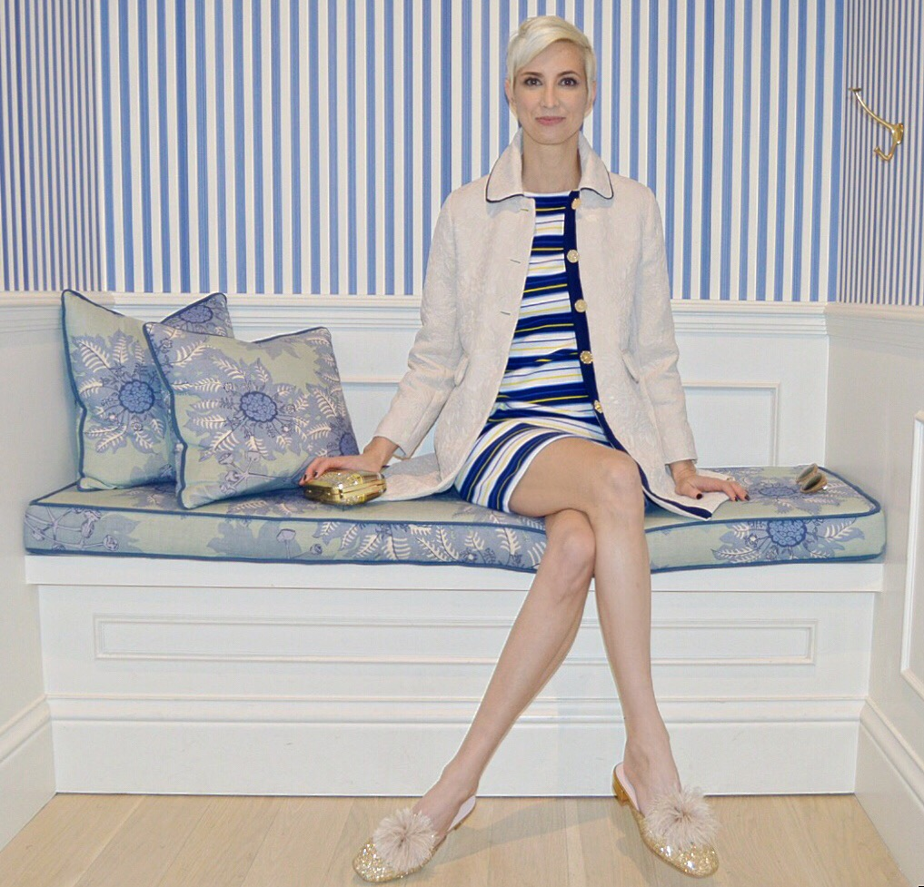 Colson Horton wears the White Jacquard Coat and Pop Stripe Dress in Draper James Nashville